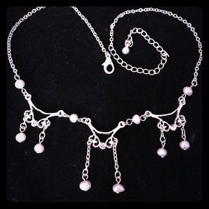 Jewelry - Silver Gems & Pearl Beads Chain Necklace
